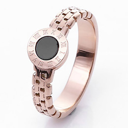 Wholesale Hollow Out Couple Ring - watch band Knuckles Rings For Women anel Fashion Hollow Out Roman Number Brand Jewelry rose Gold Color Stainless Steel Ring