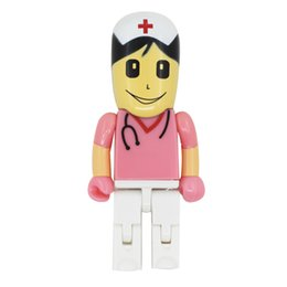 Wholesale 16 Gb Flash Drives - HanDisk ABS Doctors Nurses Dolls series Pink Nurse Flash Drive 128MB 1 2 4 16 32 64 128gb Portable Hard Drive Usb Pen Drive EU096