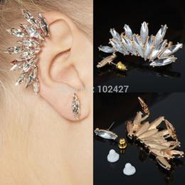 Wholesale Leaf Cuff Earrings - Wholesale-2Pcs set Elegant Leaf Crystal Gold Ear Cuff Earring Wrap Clip On For Right Ear Rhinestone Women Earrings Fashion Jewelry