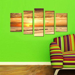 Wholesale Large Sunset Canvas - 5 Picture Combination Modern Yellow Color Sunset Seascape Paintings Natural Scenery Oil Painting Large Painting Canvas Home Wall Decoration