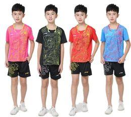 Wholesale Table Tennis Ning - Li Ning China dragon Children badminton short sleeved shirt,kids badminton table tennis jersey,lining China dragon tennis suits XS-3XL