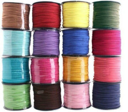 Wholesale Wholesale Suede Necklaces - 2.7mm 100M Leather Cord Soft Suede Lace velvet Thread Bracelet Necklace Rope