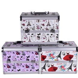 Wholesale Tier Boxes - Wholesale- 2016 Hot professional Aluminium tower Make up Box Makeup Case Beauty Case Cosmetic Bag Multi Tiers Lockable Jewelry Box for gift
