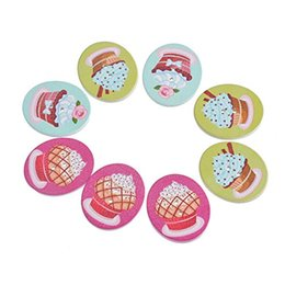 Wholesale Random Cupcake - Oval Cupcake Pattern Wooden Buttons With 2 Holes Buttons 3.05x2.6cm Random Mixed For Crafts Scrapbooking DIY Accessorie Pack Of 30pcs I479L