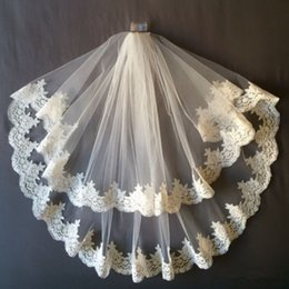 Wholesale Elbow Length Lace Veil - 2 Tiers White or Ivory Lace Applique Edge Bridal Wedding Veil With Comb Bridal Veils Long Veils