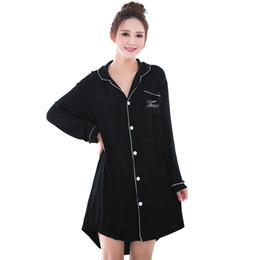 Wholesale Long Sexy Nighties - Wholesale- Fashion Long Sleeved 100%Cotton Sleepwear for Women Tops Black Pink Blouses&Shirts Dress Sexy Nightie Nightgown Sleepshirts