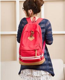 Wholesale Blue Pig Nose Backpack - pig nose panelled canvas backpack schoolbags shoulder bags fashion color bag