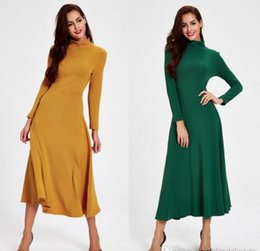 Wholesale Tea Length Cotton Casual Dresses - Vintage Yellow Green Long Women Casual Maxi Dresses Clothes 2016 New Winter Tea Length High Neck Long Sleeves Ladies Bodycon Dress FS0335