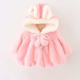 Wholesale Wholesale Faux Coats - Baby Girls 2 Pom Pom Faux Fur Coats 2017 Winter Kids Boutique Clothing Little Girls Outerwear Kids Hoodie fur Coats Hot Sale