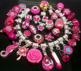 2019 branelli acrilici di velluto all'ingrosso 50pcs / Lot rosa pendenti di fascini perline per monili che fanno amuleti sciolti fai da te perline grande foro per il braccialetto europeo all'ingrosso in massa prezzo basso