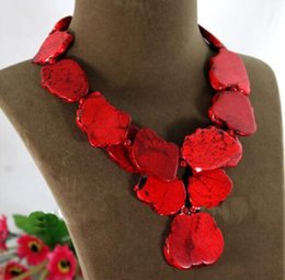 Wholesale Ruby Pearls - Exaggerate Woman Gift Irregular Red Turquoise Slice Choker Necklace Pendant