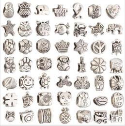 Wholesale Charms Zinc Alloy Big Hole - zinc alloy European beads Big Hole mixed Style Loose Beads charm For Pandora DIY Jewelry Bracelet