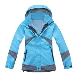 Wholesale Two Piece Women Ski Suits - Wholesale-High Quality Women's Outdoor Double Layer Waterproof Hiking Skiing Ski Snow Suit Windproof Sports Jacket Warm Two-Piece outfit