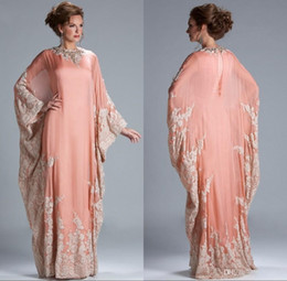coral mother bride dresses Promo Codes - 2019 New Chiffon Kaftan Dubai Arabian Evening Dress Long Sleeves Appliques Lace Fitted Muslim Mother of the Bride Dresses Plus Size