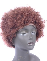 Wholesale Short Afro Curl Wig - Faover Hair Short Afro Kinky Curl Human Hair Full Lace Wig Brazilian Virgin Hair 18 Inch with Adjustable Straps 180 Density Natural Hairline