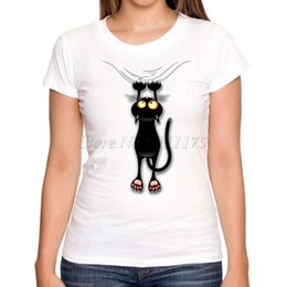 Wholesale Ladies Cotton Shirts Designs - Wholesale- 2017 Women Fashion Fun Black Cat Falling Down Design Short Sleeve T shirt Lady Fantastic Printed Tops Summer Tees