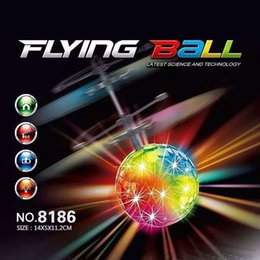 Wholesale Drone Led - Toys RC Helicopter Flying Induction LED Noctilucent Ball Quadcopter Drone Sensor Suspension Remote Control Aircraft Kids Gift
