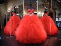 Vestido de duas peças de organza vermelha on-line-Laço vermelho Applique Nudez Duas Peças Quinceanera Vestido Babados Organza Querida Decote Lace up Voltar Sexy Dezesseis Vestido