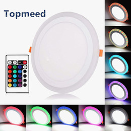 Wholesale Led Light Rgb 9w - Acrylic Dimmable Dual Color White RGB Embeded LED Panel Light 6W 9W 18W 24W Downlight Recessed Lights Indoor Lighting With Remote Controlle