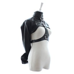 Wholesale Adults Jackets - Adult Kinky Fetish Female Open Breast Cupless Leather Bondage Straitjacket Top Womens Restraint Straight Jacket Costume