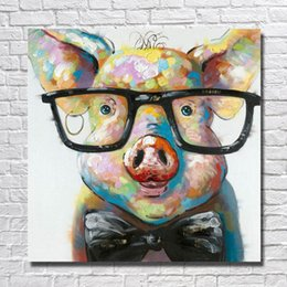 Wholesale Modern Art Oil Paintings - Modern Canvas Art Hand made Pig with Glasses Oil Painting Wall Art Home Decorative Modern Living Room Wall Pictures 1 Peices No framed