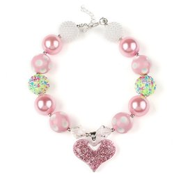 Wholesale Chunky Necklaces Girls Bubblegum - Hot Europe Bubblegum Chunky Necklaces kids pink Heart Pendant necklaces DIY Beads Girls Jewelry free shipping