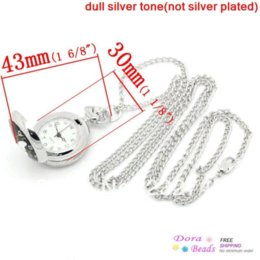 """Wholesale Silver Tone Pocket Watch - hot- Pocket Watches Round Silver Tone Butterfly & Flower Pattern Battery Included 84.5cm long(33 2 8""""),1Piece (B28881)"""