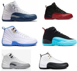 Wholesale French Army - High quality air 12 12s Mens Womens Basketball Shoes ovo white TAXI Flu Game GS Barons Playoffs gym red French blue shoes