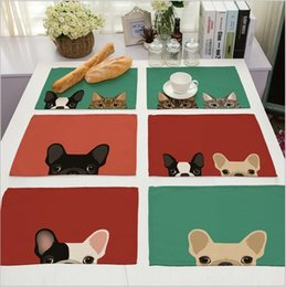 Wholesale Dogs Draw - Wholesale-Hot Sale Cute Dog Placemat Cotton Linen Drawing Table Mat Dishware coasters For Dinner Accessories Cup Wine mat