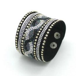 Wholesale European Pave Rhinestone Beads - 2016 New Fashion Charm Women Leather Bracelets Personality Printed Pave Setting Rhinestone Bracelet black color !
