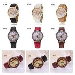 Wholesale World Map Wrist Watch - Geneva world map Piano notes pattern watch Quartz wrist watches,the anti-fatigue watch strap watch 6 pieces a lot mixed style GTPH56