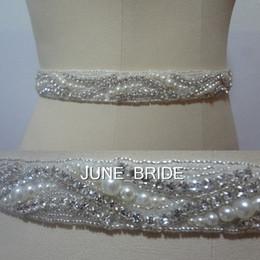 Wholesale Wedding Dresses Belts - New Style Elegant Pearl Crystal Wedding Sash High Quality Real Photo Rhinestone Bridal Belt Sashes 100% Same As Image Dress Accessories Hot