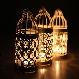 Wholesale White Bird Cage Decoration - 2016 New white color Bird Cage Decoration Candle Holders metal lantern candelabra Wedding Candlestick home wedding decor