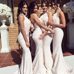 Wholesale Bridesmaid Dresses Pale Blue - Backless Pale Pink Long Bridesmaid Dresses Mermaid Beaded High Neck Custom Made Cheap 2017 Cheap Wedding Guest Dress Gowns for Evening Party