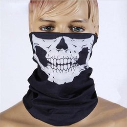 Wholesale Wholesale Skull Gloves - Skull Face Mask Halloween Skull Bandana Bike Helmet Neck Face Mask Scarves Gloves & Wraps Paintball Sport Cycling Headband Scarf free shipp