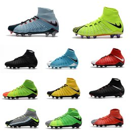 Wholesale Spike High Boots - 2017 Cheap High Quality Hypervenom Phantom DF FG Men's Soccer Shoe boots Free Shipping Mens Hypervenom 3 cleats soccer football shoes online