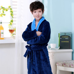 Wholesale Boys Robe Large - 2016 Winter Cartoon Mickey Children Flannel Robe 2 Colors Soft Pajamas Bathrobe For Boys Kids Home Wear