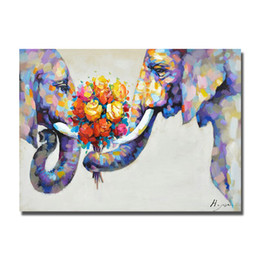 Wholesale Artist Picture - Free shipping home goods oil painting by chinese artists hand painted cartoon animal elephant oil painting wall pictures