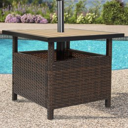 Patio Umbrella Stand Wicker Rattan Outdoor Furniture Garden Deck Pool