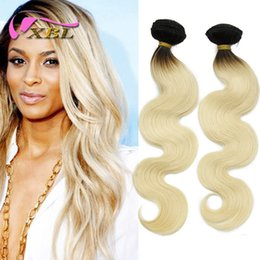 Wholesale Wet Wavy Ombre Weave - wet and wavy hair ombre brazilian body wave virgin blonde human hair weaving xbl free shipping