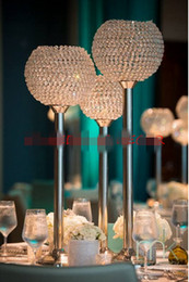 Wholesale Crystal Ball Holder Stand - Big crystal ball wedding centerpiece table centerpiece flower stand candle holder wedding pillar 26cm diameter 90cmTall
