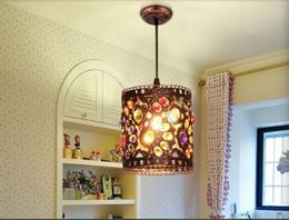Wholesale Bohemian Lamps - Free Shipping D120mm Crystal Pendant Lamps Lighting, 1 Head Bohemian Iron Bar Pendant Light Colorful Crystal Pendant Light