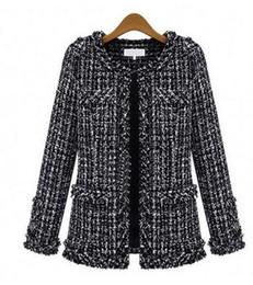Wholesale Plus Size Tweed Coat - 2016 spring new women's fashion OL black white plaid pattern o-neck long sleeve tweed woolen short coat casacos plus size S-XXXL