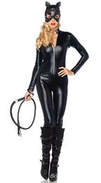Argentina Medias de cuero de charol negro gato siamés Swordswomen Cosplay día de Halloween catwoman traje enmascarado trajes atractivos envío gratis Suministro