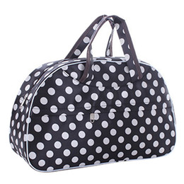 Wholesale Dots Luggage - Wholesale- SAF-Fashion Waterproof Oxford Women bag White Dot with Black Bottom Travel Bag Large Hand Canvas Luggage Bags