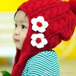 Wholesale Headphone Bearing - Winter Toddler Girl Boy Embellish Hat Beanie Cap Ears Protect Warm Sweet Flower Dual Headphone Earmuffs Bear Child Kid Cap
