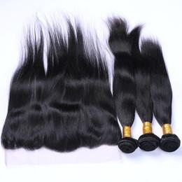 Faisceaux de cheveux raides péruvienne avec base de soie frontale oreille à l'oreille de soie droite base frontale fermeture avec des faisceaux 370 g / lot ? partir de fabricateur