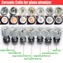 Wholesale E Cigarette Atomizer Core - Quartz Ceramic Cotton replacement atomizer dual glass globe coils Donut wax dry herb Herbal vaporizers vape pen e cigarettes vapor core