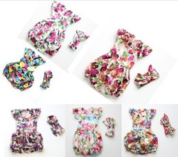 Wholesale Girls Playsuit Jumpsuit - Floral Girls Romper 2016 New Flower Printed Fahsion Baby Jumpsuit Europe Style Butterfly Back Toddler one piece Kids Playsuit 6560