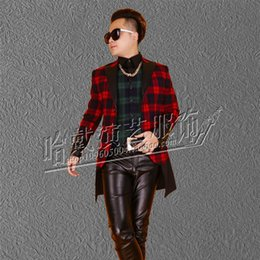 Wholesale Men S Double Breasted Suits - Wholesale-S-XXXL Men's brand fashion leather clothing suit jacket clothing dj Take dress nightclub singer Free Shipping